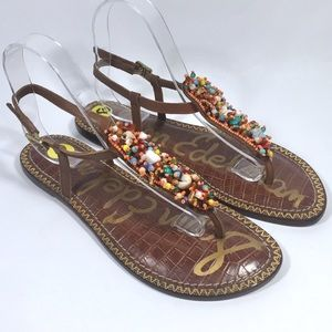 Sam Edelman Gabrielle Beaded Leather Thong Sandals